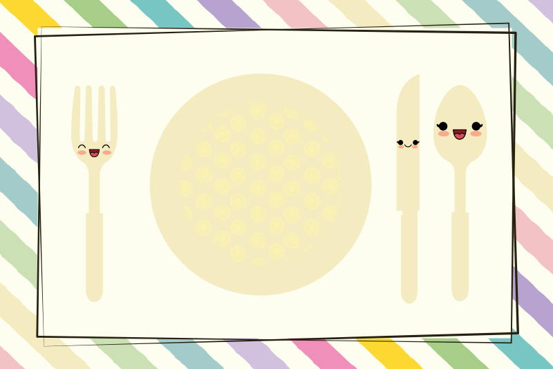 TenStickers. Colorful plate and cutlery children vinyl placemats. Children place mat idea for home use featured with colorful plates and cutlery with funny face. A product made of high quality.