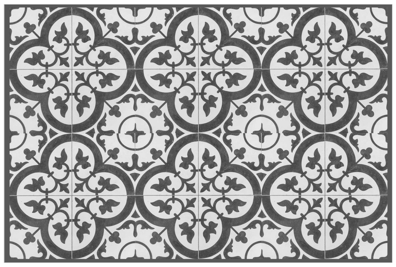 TenStickers. Ornamental cement tiles home vinyl placemats. An elegant home place-mat  with ornamental design style to make any dinning table setting look super amazing and classic.