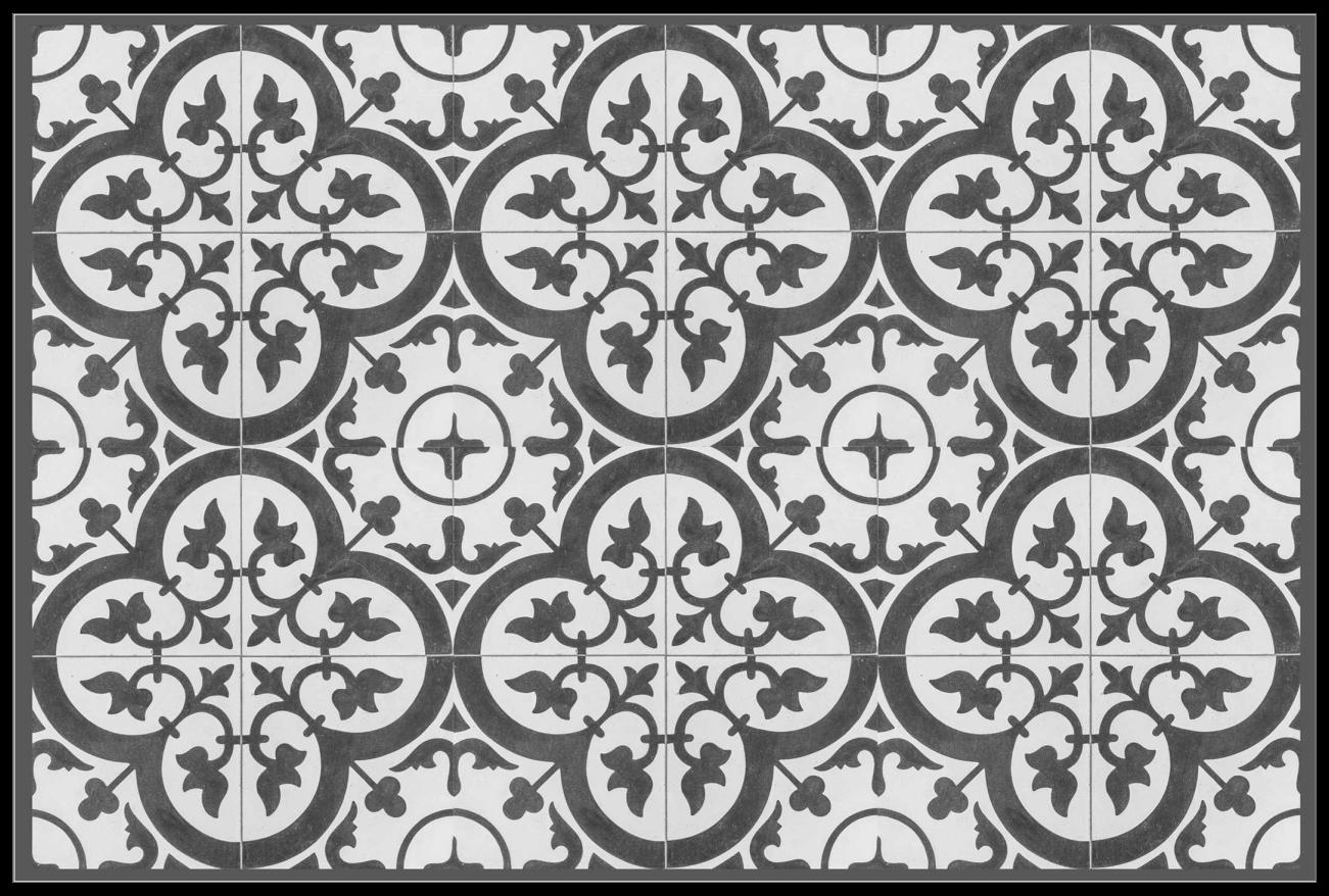 TenStickers. 观赏水泥瓷砖家用乙烯基餐垫. 带有装饰设计风格的优雅家用餐垫,可令任何餐桌设置看起来都超赞而经典。