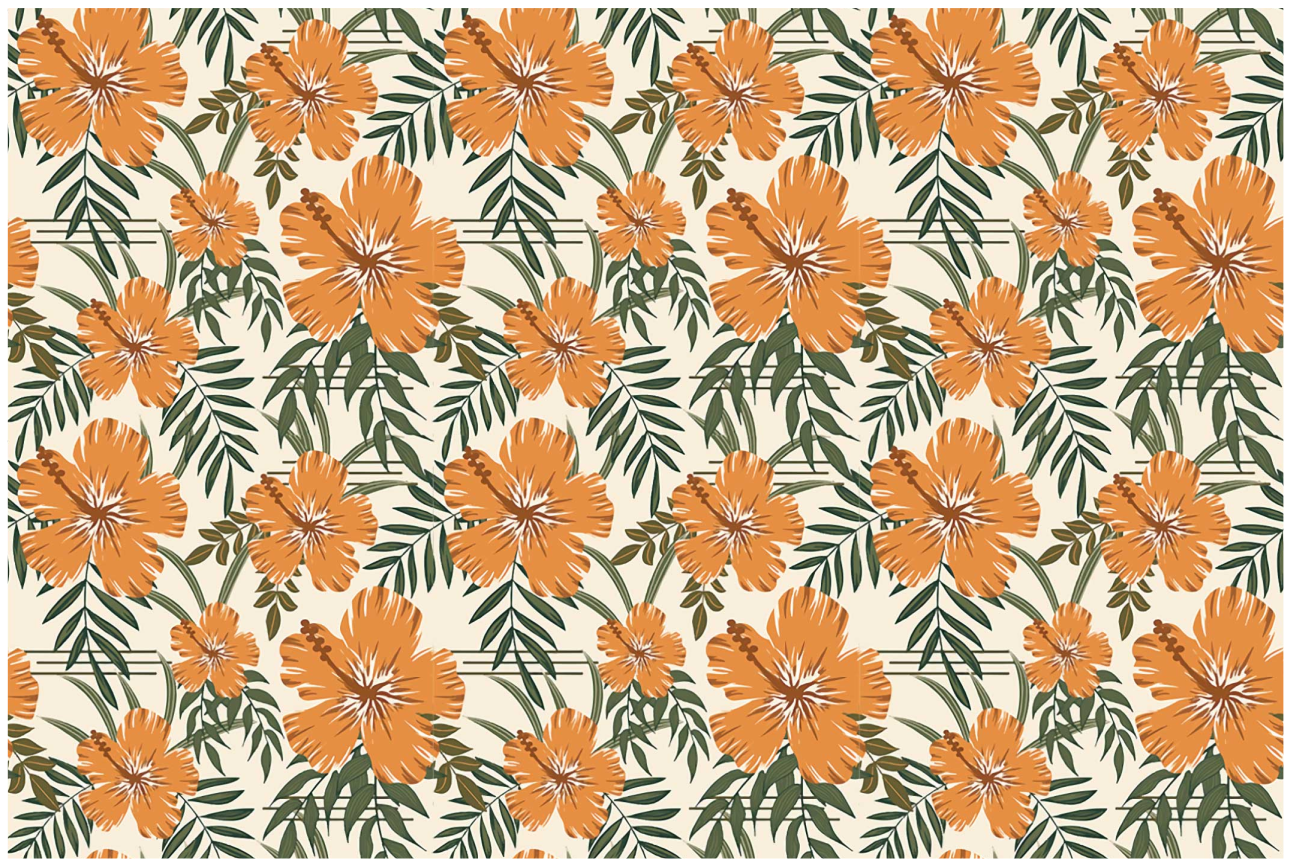 TenStickers. Hawaii yellow home vinyl placemats. Enjoy your meal on our piece of ornamental vinyl place-mat designed with ornamental flower plant prints. It is made of good quality.