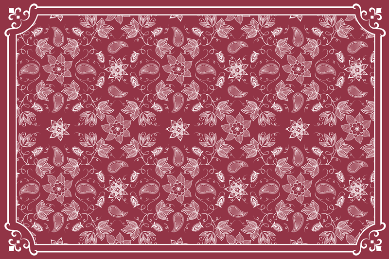 TenStickers. Beautiful paisley flowers paisley vinyl placemats. Beautiful home place-mat made with ornamental paisley design on red coloured background. It is easy to maintain and store.