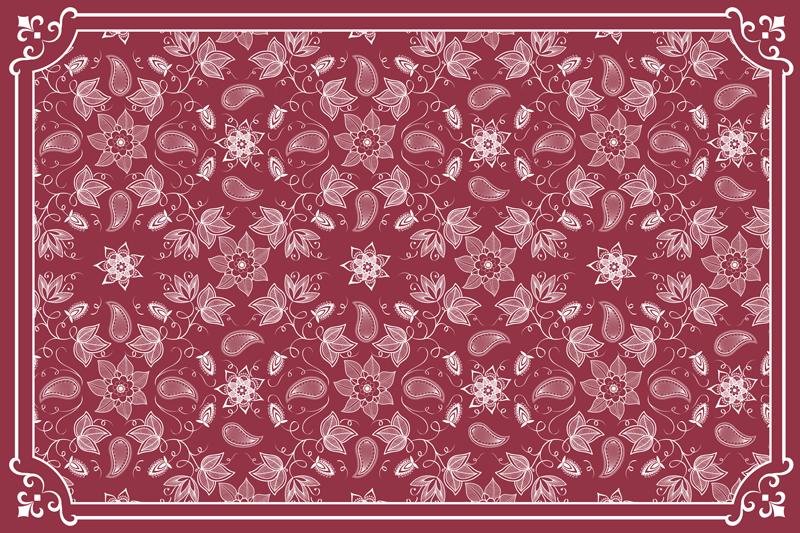 TenStickers. 美丽的佩斯利花佩斯利乙烯基餐垫. 美丽的家居餐垫用装饰的佩斯利设计在红色的彩色背景上。它易于维护和存储。