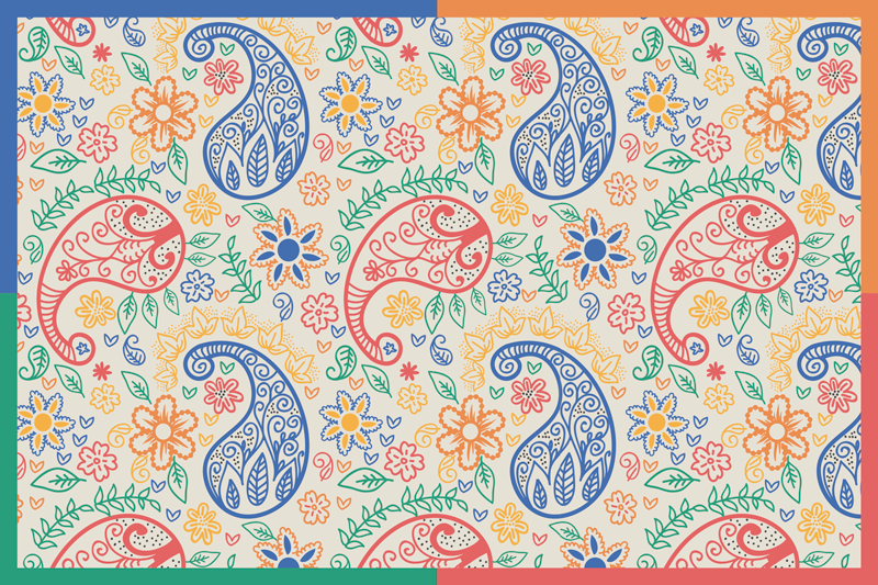 TenStickers. Set de table rectangulaire Paisley coloré. Procurez-vous cet incroyable set de table rectangulaire au design paisley multicolore pour votre table à manger. Il est facile à entretenir et à stocker.
