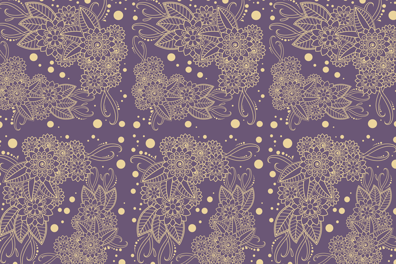 TenStickers. Floral paisley corner paisley vinyl placemats. An exceptional vinyl place-mat that would catch attention of your visitors due to it lovely golden color ornamental design on purple background.