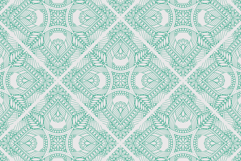 TenStickers. Ornamental draw tile paisley vinyl placemats. A simple but beautiful colourd place-mat for home with green ornamental paisley design on white background. It comes in pack sets .