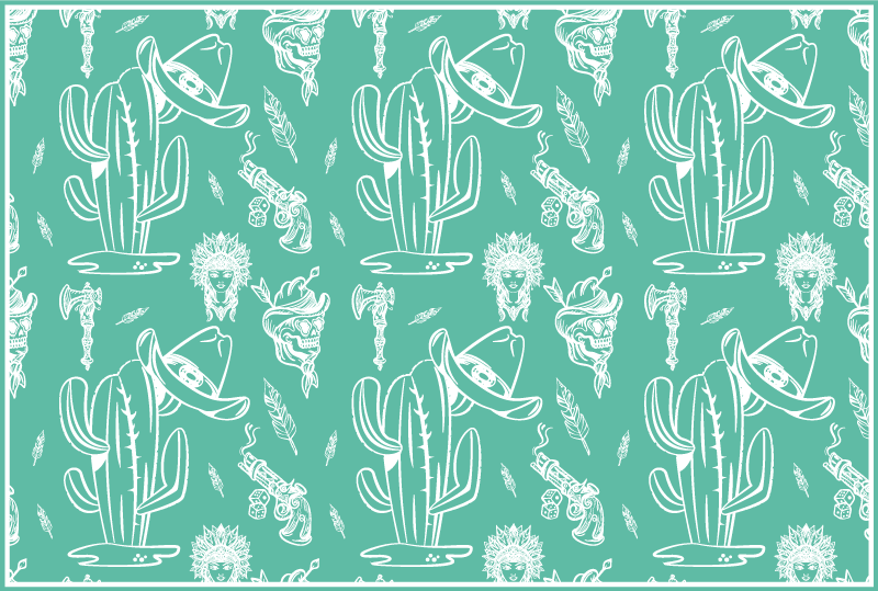 TenStickers. Cactus and hat western pattern home vinyl placemats. Western pattern vinyl place-mat with different elements features that depicts the style of a cowboy. The product is mad of high quality.