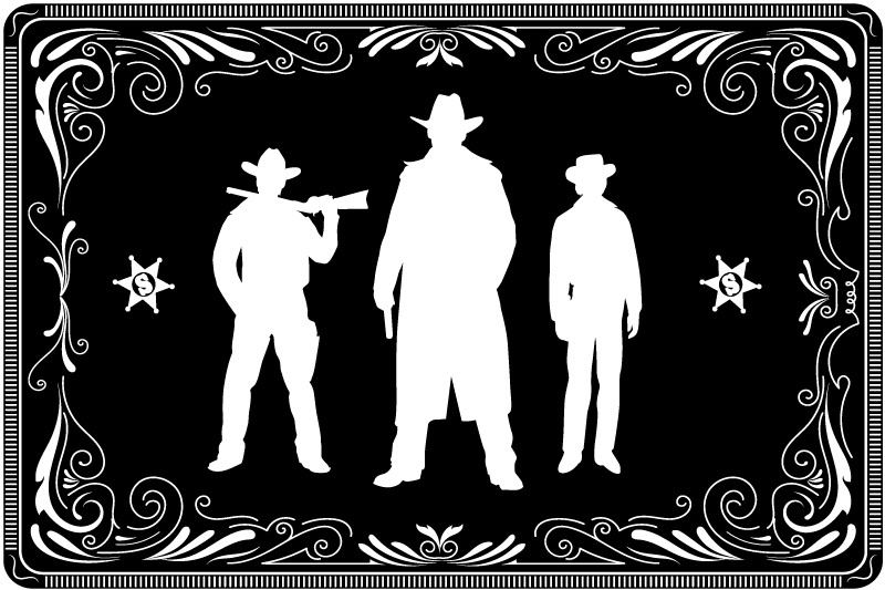 TenStickers. Cowboy and horses pattern black vinyl placemats. A lovely cowboy home place-mat design. A design featured with the silhouette of three cowboys on a black background. Easy to maintain and store.