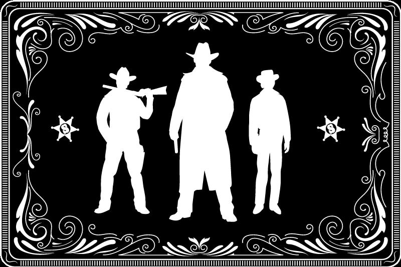 Tenstickers. Cowboy och hästar mönster svart vinyl bordstabletter. En härlig cowboy-hembordstabletterta-design. En design med silhuetten av tre cowboys på svart bakgrund. Lätt att underhålla och lagra.