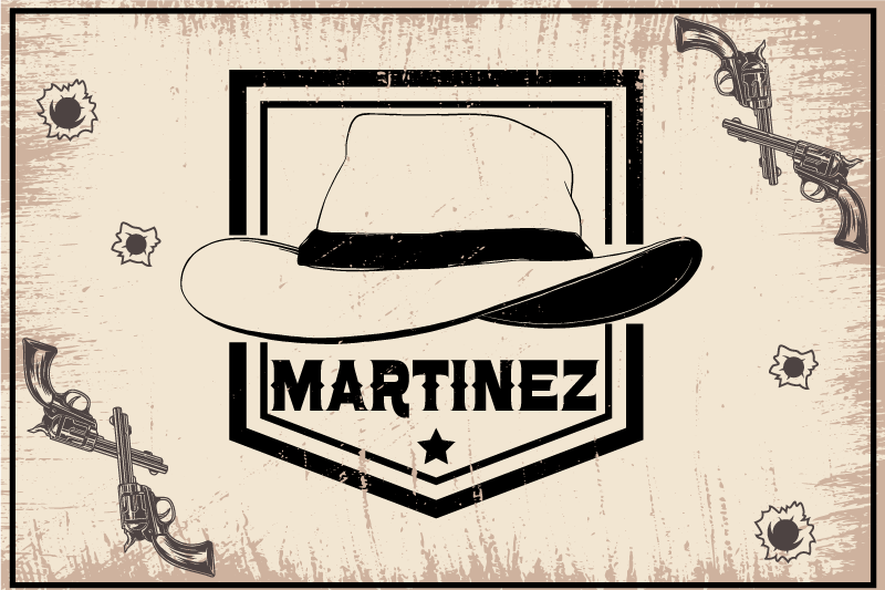 TenStickers. Cowboy hat with name name vinyl placemats. Personalize your own place-mat in this cowboy's hat design made on a vintage background texture. It is made of high quality material.