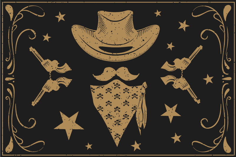TenStickers. Cowboy hat, bandanna and revolvers home placemats. Our cowboy vinyl place-mat featured with cowboy elements. It is suitable for home and restaurant tables and kitchen. It is easy to maintain.