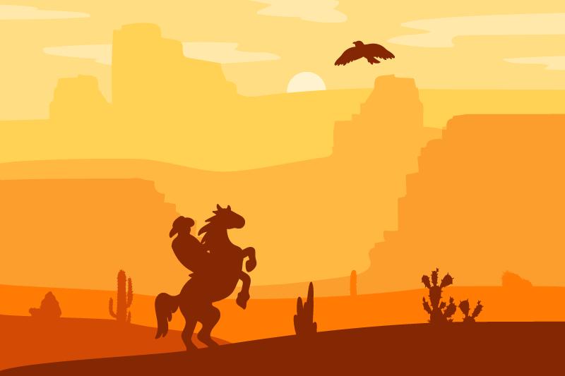 TenStickers. Placemat Cowboy landschap. Cowboy landschap design placemats om te genieten van een maaltijd op een eettafel. Een ontwerp met een woestijnhorizon en een cowboy die op een paard rijdt.
