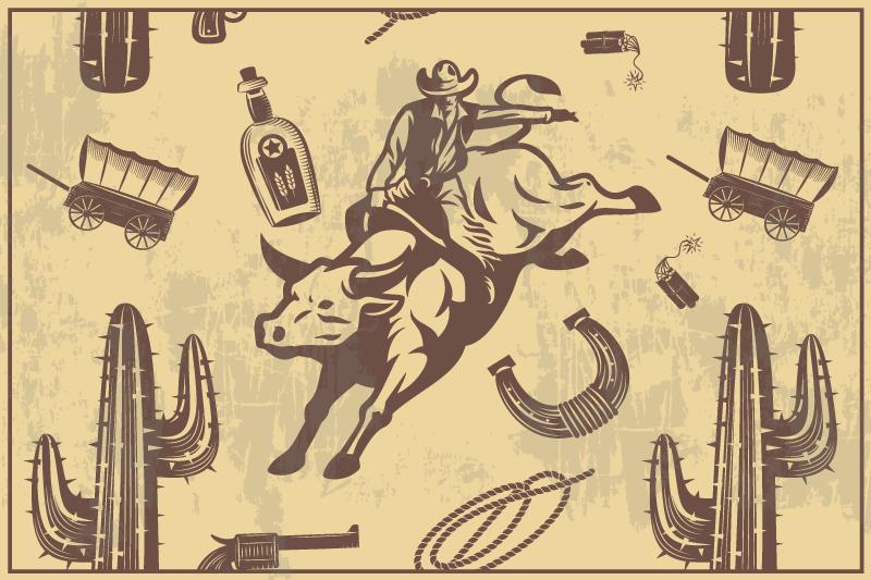 TenStickers. Tovagliette americane in vinile cowboy a cavallo di un toro. Servi i pasti su un tavolo da pranzo in modo pulito, ordinato e organizzato con la nostra tovaglietta per la casa caratterizzata da diversi elementi.
