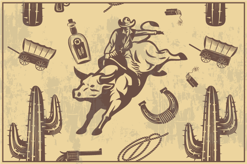TenStickers. 牛仔骑牛儿童乙烯基餐垫. 通过我们的家用餐垫以干净,整洁和有条理的方式在餐桌上提供餐点,并带有描绘牛仔的不同元素。