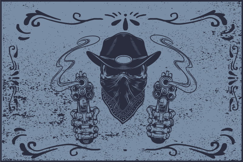 TenStickers. Cowboy skull and flock blue vinyl placemats. Cowboy theme vinyl place-mat for your lovely dinning table decoration.  A blue background design with feature of a bandit shooting from two revolvers.