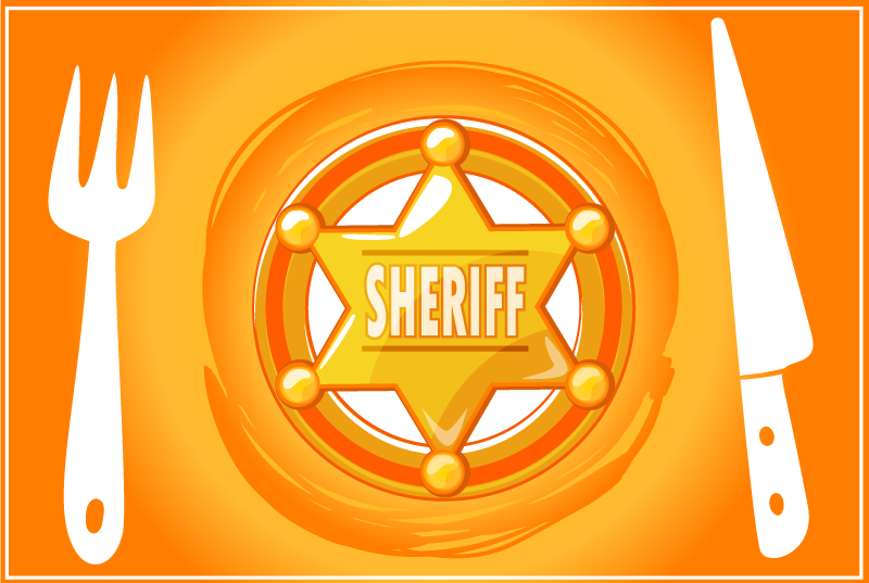TenStickers. Cowboy star custom name children vinyl placemats. Home vinyl place-mat with an orange background design that features a star icon  that depicts a sheriff officer's badge with ''sheriff'' inscription.
