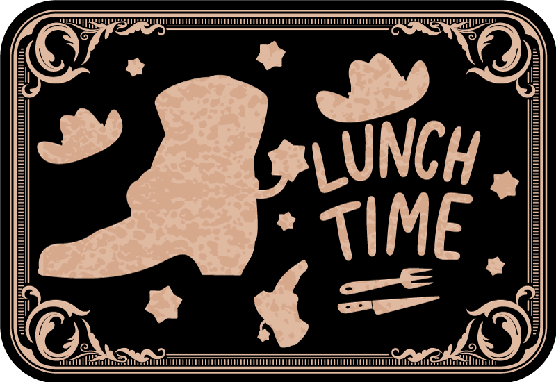 TenStickers. Hat and boots pattern Other colors vinyl placemats. Colored home place-mat with the design of hat and boot and a text that says '' lunch time''. The product is made of good quality and easy to maintain.