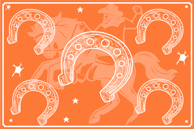 TenStickers. Horseshoe Other colors vinyl placemats. Beautiful iconic coloured place-mat designed in an orange colour with the feature of horseshoes. It is easy to clean and made of good quality.