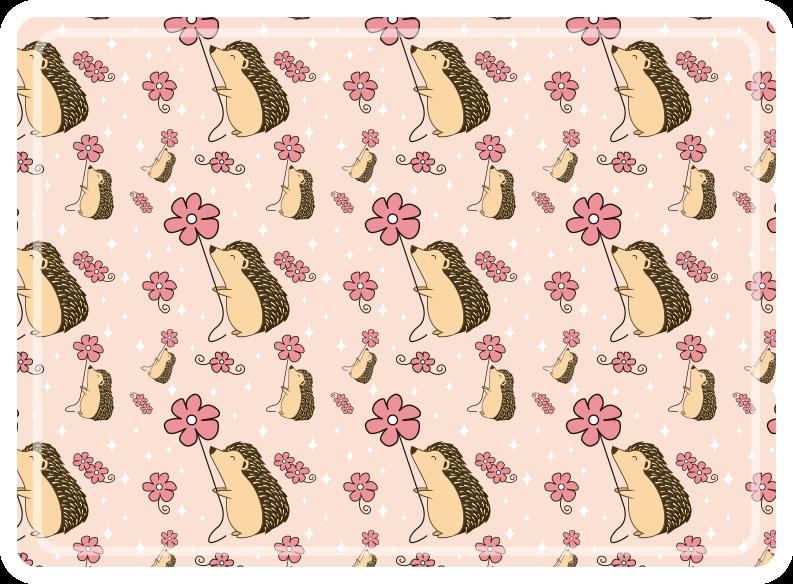 TenVinilo. Manteles puercoespines con margaritas. Mantel individual infantil ideal para el hogar con diseño de puercoespines y flores de margarita. Elige pack ¡Envío a domicilio!