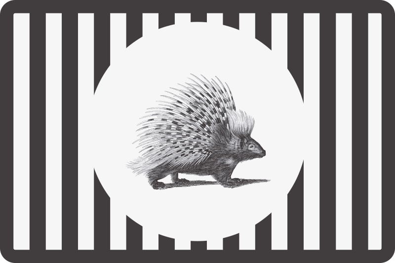 TenStickers. Porcupine art black and white hedgehog placemats. Trendy vinyl place-mat with porcupine design in black and white colour that you would not want to miss to add to your home decor.