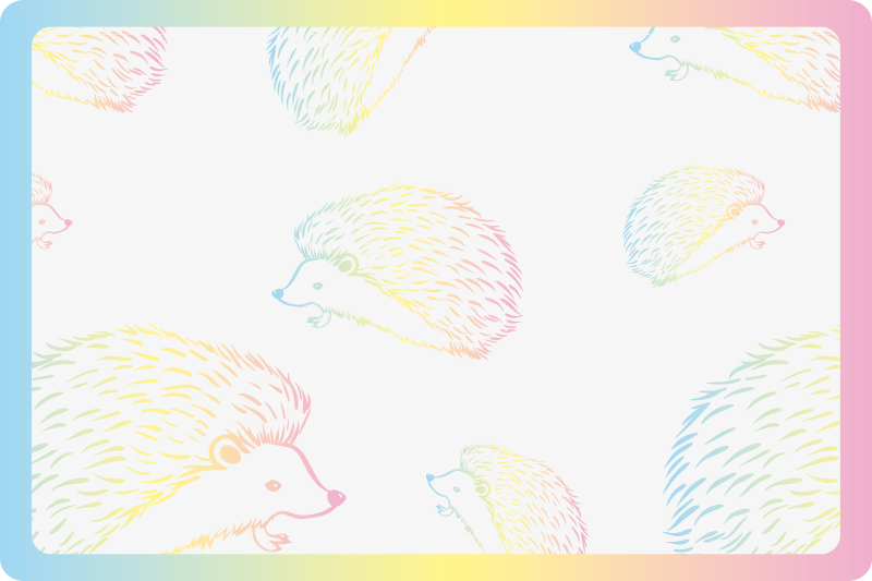 TenStickers. Porcupine drawed in lines hedgehog vinyl placemats. Buy our beautiful colour drawn hedgehog vinyl place-mat for your dinning table space. It is made of good quality and easy to maintain.