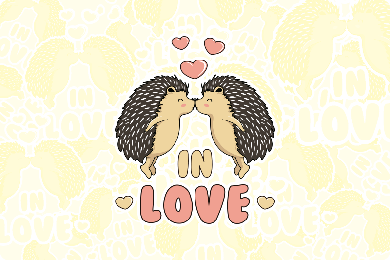 TenStickers. Porcupine in love hedgehog vinyl placemats. Love text vinyl place-mat featured with two porcupines touching each other with the mouth and a text that says '' in love''.