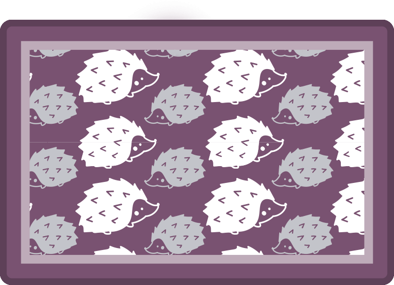 TenStickers. Simple Porcupine hedgehog vinyl placemats. Buy our special trendy home place-mat made with the design of porcupines on purple background. The product is made of high quality.