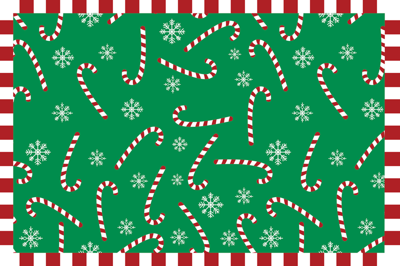 TenStickers. Green Candy Cane Christmas table mats. This Christmas placemat design features various candy canes and snowflakes, all coloured in Christmas colours. Anti-bubble vinyl.