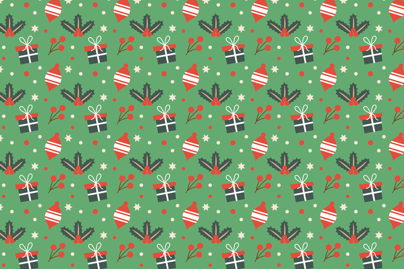 TenStickers. Green candy pattern  Christmas vinyl placemats. Order our featured Christmas place mat online to receive it in few working days. The product is featured with gift boxes, stars and other designs.