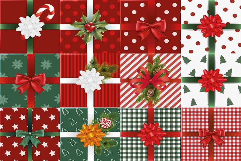 TenStickers. Gift boxes pack Christmas vinyl placemats. Gift box patterned Christmas place-mats design for homes, restaurants and bars. Made of high quality material and easy to maintain.