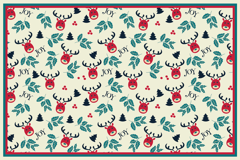 TenStickers. Joy and reindeer  Christmas vinyl placemats. Table place-mat for home. The design has the feature of reindeer and joy inscribed all over it. Easy to maintain and of high quality.