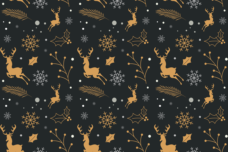 TenStickers. Merry Christmas composition Christmas vinyl placemats. Christmas featured table placemats, it design compose of snowflakes, reindeer and other Christmas elements on a dark background.