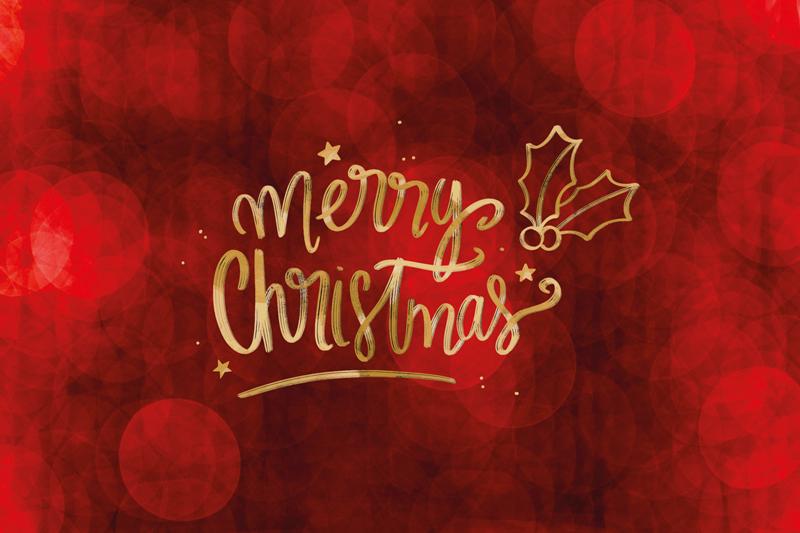 TenStickers. 圣诞快乐在红色圣诞乙烯基餐垫. 圣诞快乐文本具有红色背景主题的特色餐垫。该产品由高质量制成,易于使用。