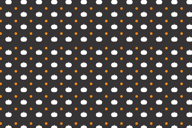 TenStickers. Pumpkin and polka dot placemat. Halloween featured placemat design. The design is made on a black background with orange polka dots and white pumpkins design.