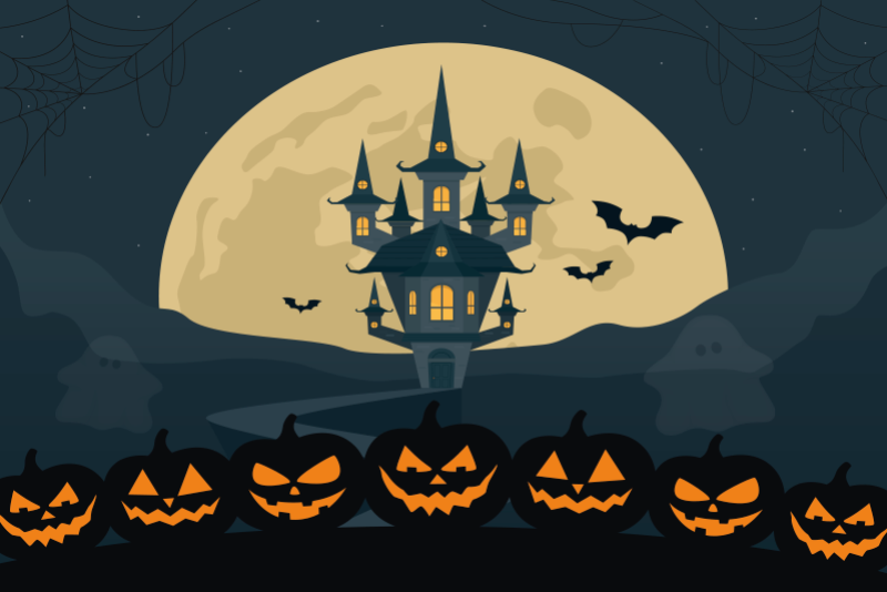 TenStickers. Gotic vinyl Halloween placemat. Halloween featured placemat created with  pumpkins, bats and  hunted castle design on a dark theme background. Easy to maintain.