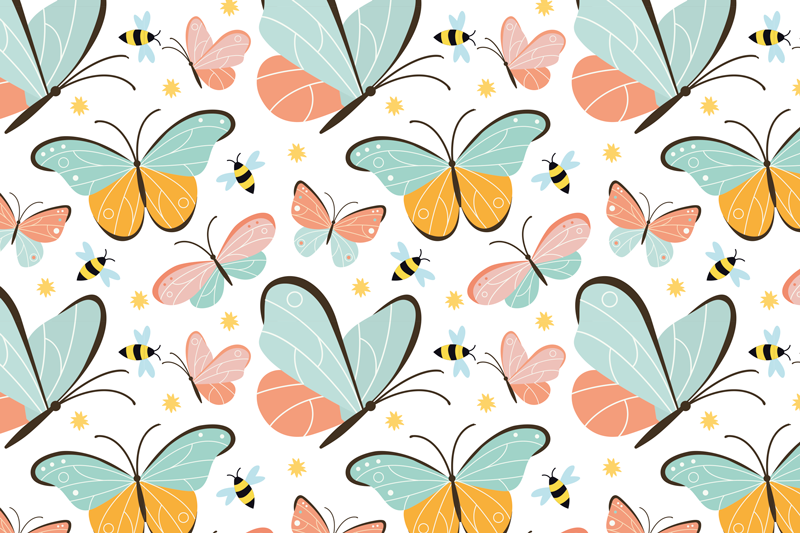 TenStickers. butterflies and bees butterfly table mats. Perfect decoration for your table. These kitchen mats include an illustration of beautiful colorful butterflies and bees. High quality vinyl.