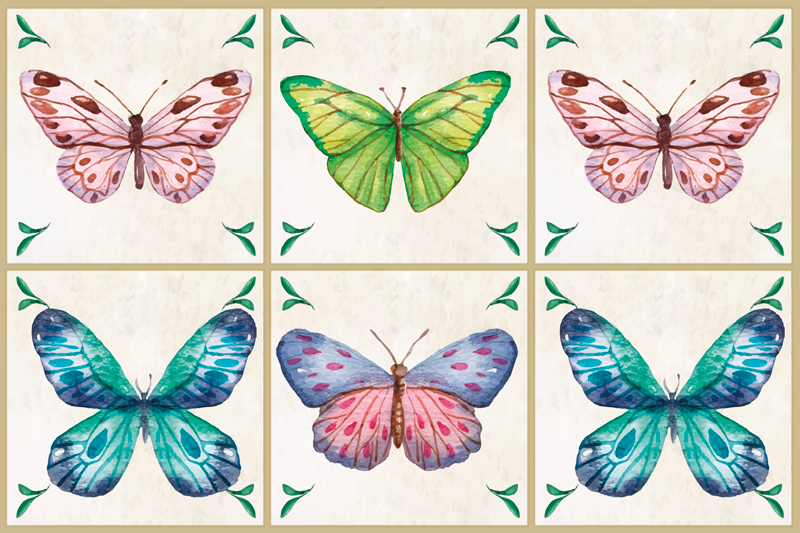 TenStickers. butterflies tiles butterfly table mats. Incredible vintage looking butterfly placemats that will bring ten up your meal times! Made from extremely long-lasting material.