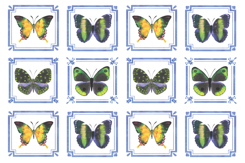 TenStickers. Butterfly tile table mats. Butterfly placemat which  features twelve tiles, each with a unique butterfly inside. This design is coloured in blue, white, green and yellow.