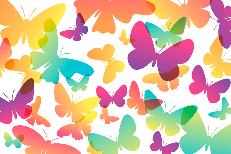 TenStickers. Rainbow butterfly table mats. Stunning butterfly placemat design which features various butterfly silhouettes in different sizes and colours. High quality.