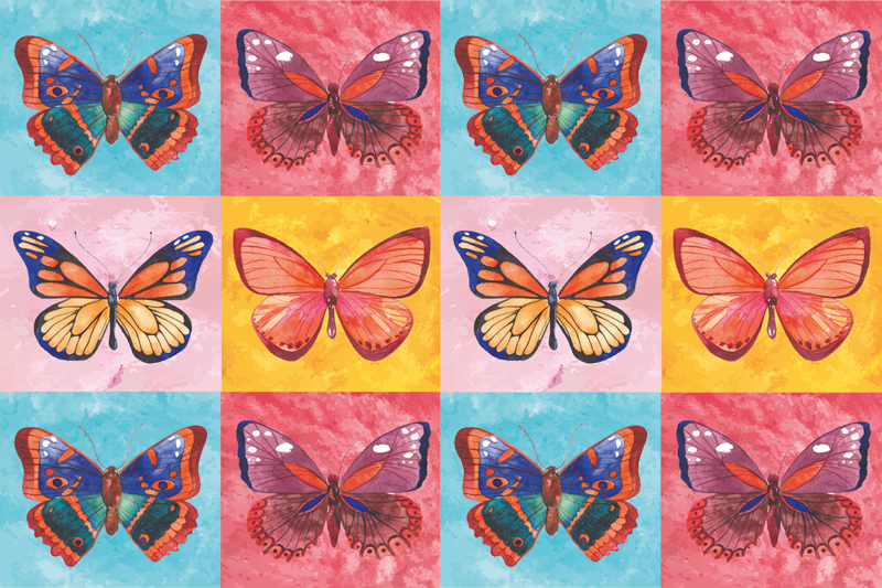 TenStickers. Tiled coloured butterfly table mats. Butterfly table mat which features 12 butterflies in various coloured tiled squares. Each of the butterflies has their own unique design and colours.