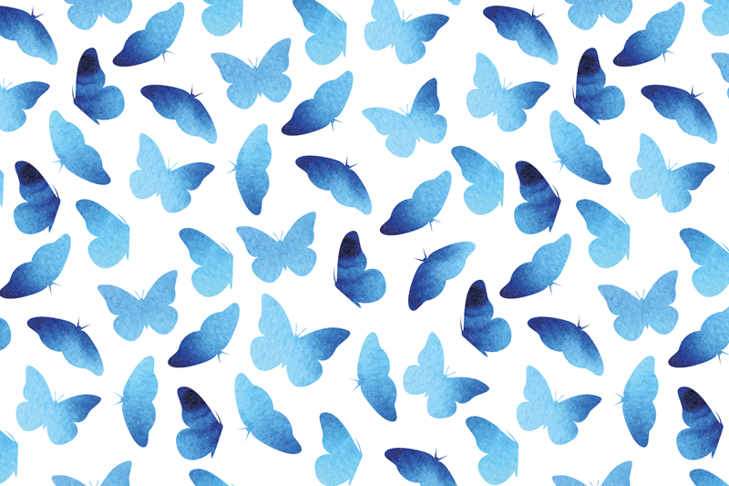 TenStickers. Painted blue butterfly table mats. Beautiful butterfly table mat design which features blue painted butterflies on a white background. High quality materials.