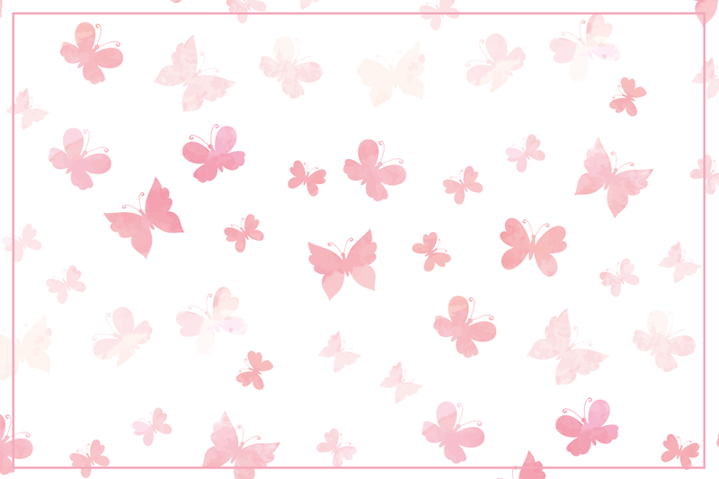 TenStickers. Pink shades butterfly table mats. Vinyl butterfly placemat which features various butterflies in wonderful shades of pink on a white background. High quality.