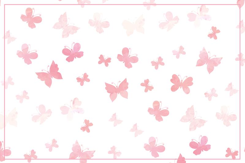 TenStickers. Lyserøde nuancer sommerfugl bordmåtter. Vinyl sommerfugl placemat, der har forskellige sommerfugle i vidunderlige nuancer af lyserød på en hvid baggrund. Høj kvalitet.