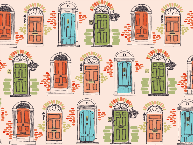TenStickers. Doors of Dublin Placemats. Placemats of teh Typical Dublin's famous doors, with their colorful storefronts and brass knobs and knockers, Home delivery
