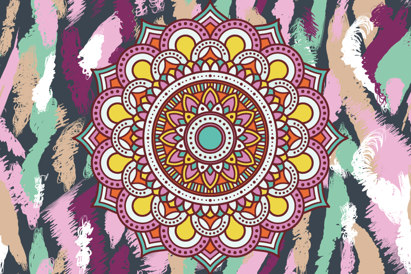 TenStickers. Multicolor mandala original vinyl placemats. Multicolor mandala original placemats. Set your dining table space with tribal impression using our original ornamental mandala table placemat.