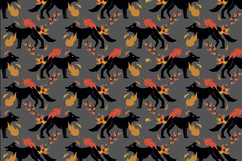 TenVinilo. Mantel individual infantil patrón de lobo. Hermoso mantel individual original para el hogar con patrón de lobos y hojas de otoño en un fondo gris ¡Elige el pack que desees!