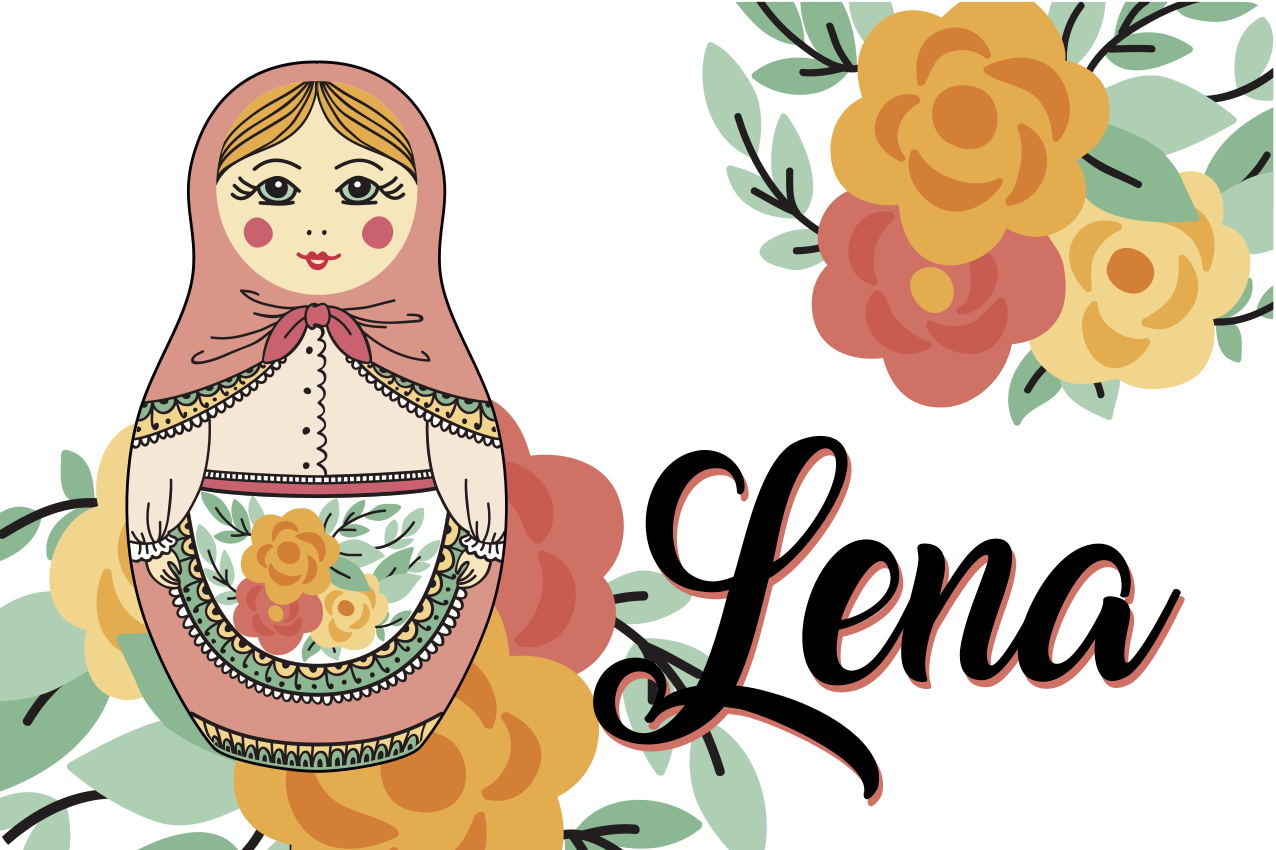 TenStickers. Russian Doll Personalised table mats. Personalised table mat which features a lovely picture of a Russian doll with your child's name next to it. High quality.