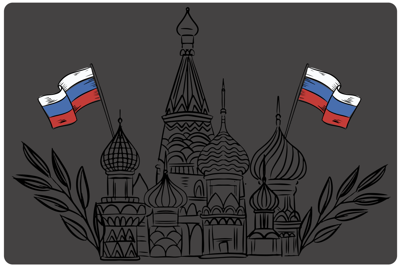 TenStickers. Moscow Cathedral silhouette home vinyl placemats. Moscow placemat which features an image of Moscow's famous cathedral with a Russian flag coming out the side. +10,000 satisfied customers.