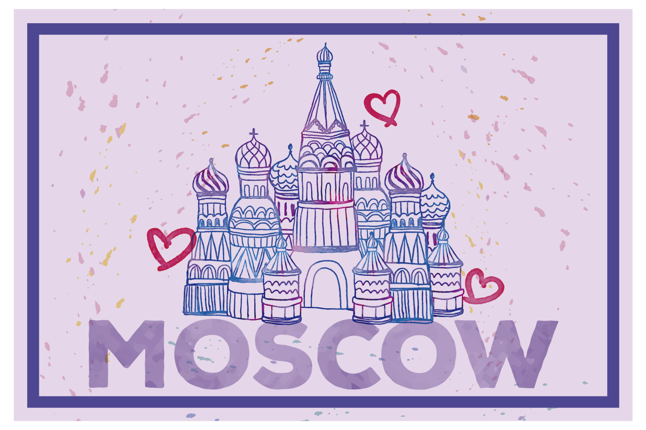 Tenstickers. Moskva med hjärtan vinylplattformar. Rysslands placemat som har en bild av moskva berömda katedral omgiven av hjärtan och färgstänk. Personlig.
