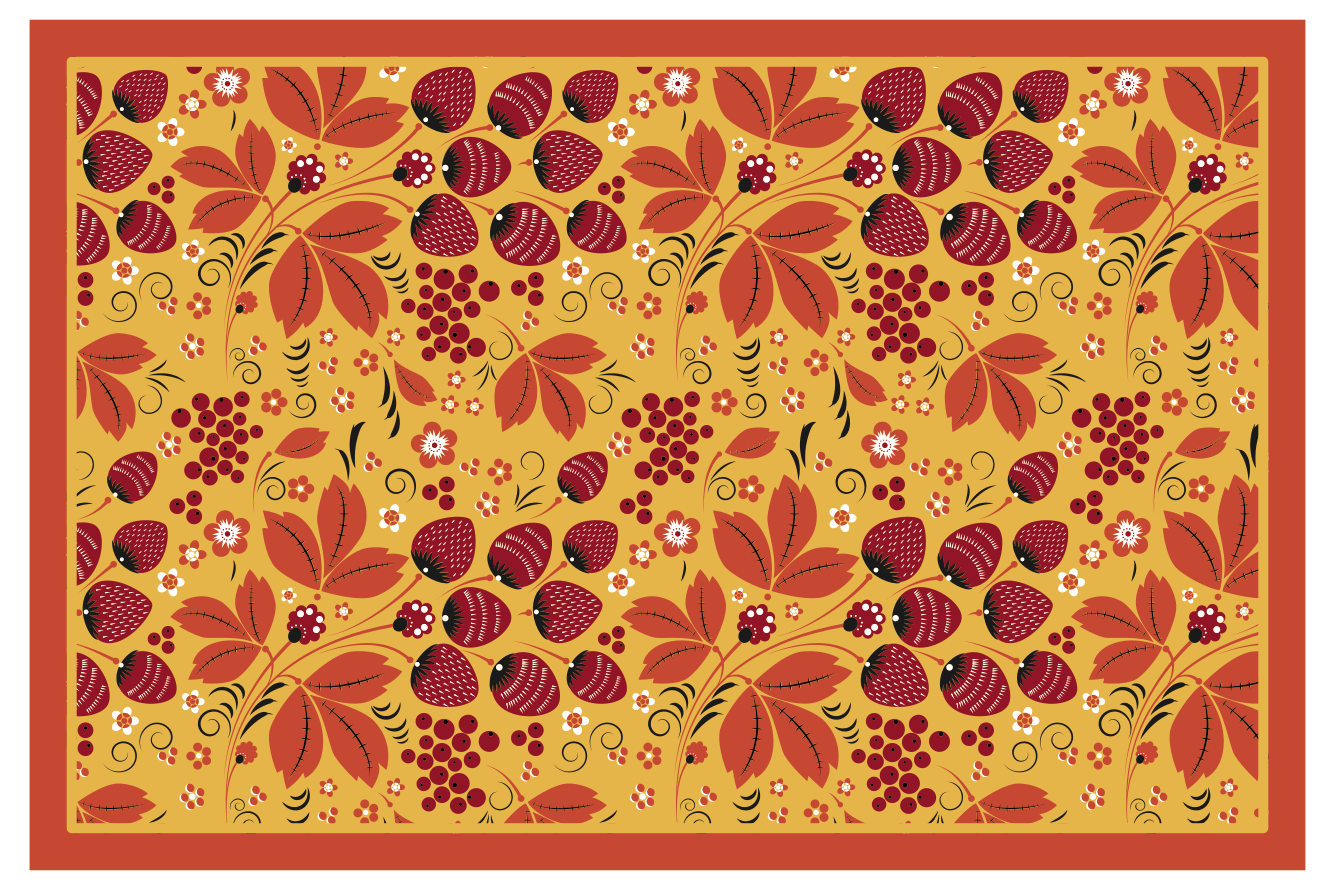 TenStickers. Strawberriy Russian folk pattern home vinyl placemats. Want to feel like you're part of Russian culture from your own dining table? Well now is your chance with this amazing russian themed sticker placemat