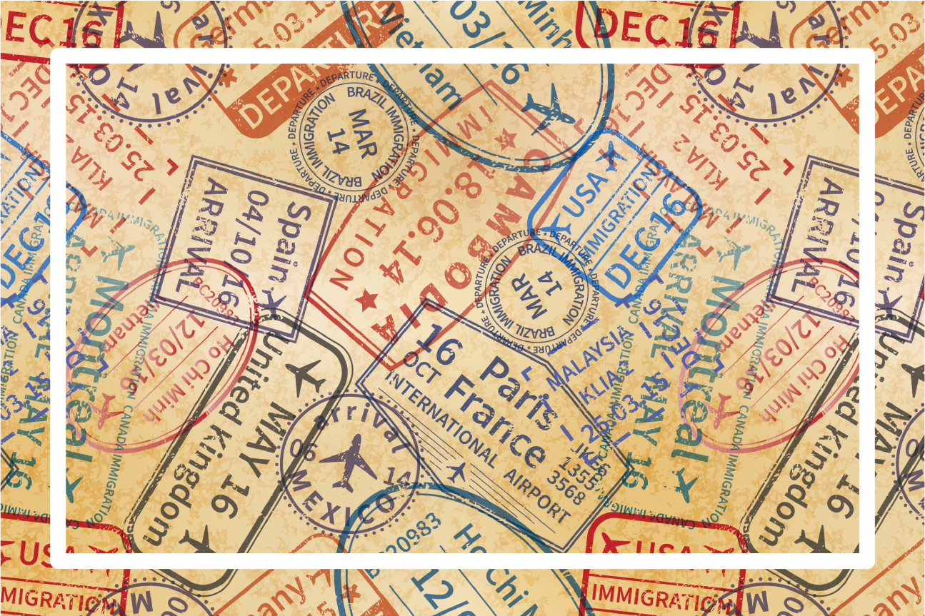 TenStickers. travel stamps home vinyl placemats. Celebrate your love for traveling with these travel themed placemats, perfect for any occasion. +10,000 satisfied customers.